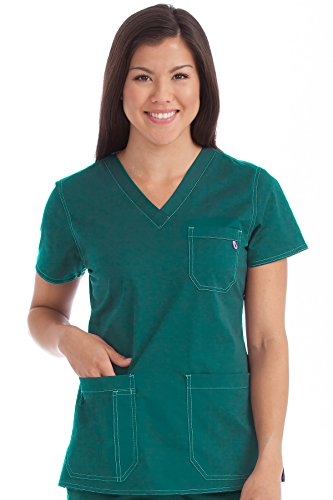 Med Couture Women's 'MC2' V-Neck Multi-Pocket Niki Scrub Top, Hunter, Large