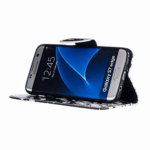 Yiizy Samsung Galaxy S7 Edge G935 Funda, Blanco Flor Que Agita Diseño Solapa Flip Billetera Carcasa Tapa Estuches Premium PU Cuero Cover Cáscara Bumper Protector Slim Piel Shell Case Stand Ranura para