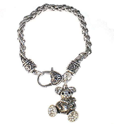 TEDDY BEAR Charm Bracelet is Embellished with Clear Crystal Rhinestones.Heart Lobster Claw Clasp. Perfect Gift for a Chicago Bears Football (Pewter Teddy Bears)