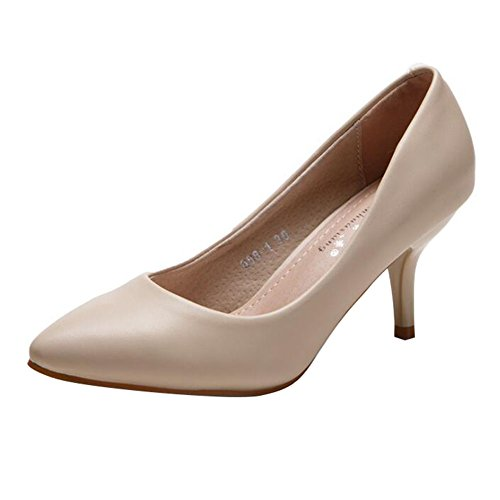 Pumps Mid On Shoe Heeled Smart Shoes yuxin Heel Court Court Suede Womens apricot Slip Ladies Office High nA0wUqRzp