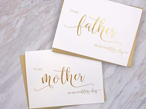 Set of 2 Gold Foil Wedding Day Cards with Gold Shimmer Envelopes, To My Mother on my Wedding Day Card, To My Father on my Wedding Day Card