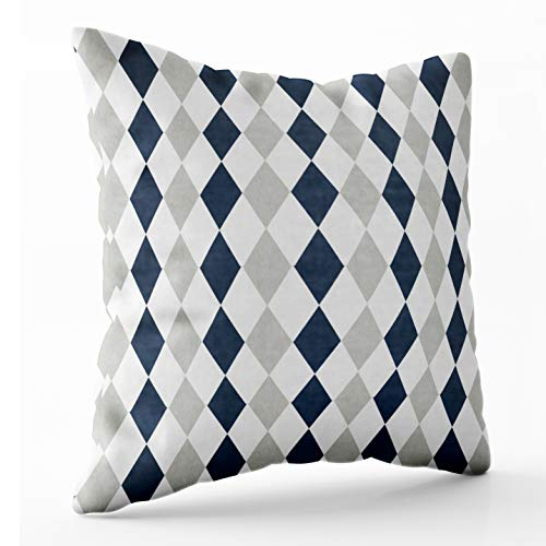 TOMKEY Hidden Zippered Pillowcase Cool Navy Blue and Gray Argyle Diamond Pattern 20X20Inch,Decorative Throw Custom Cotton Pillow Case Cushion Cover for Home Sofas,bedrooms