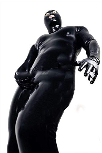 (Sexy Men and Women Wet Look DS Stage Catsuit Clothing Prisoner Patent Leather Jumpsuits Cosplay Zentai Catsuit Gloves Mask Bodysuit,XXL)