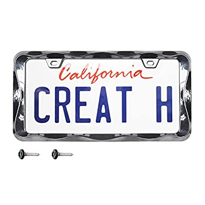 creathome 3D Curly Wave Pattern Black License Plate Frame from Pure Zinc Alloy Metal: Automotive