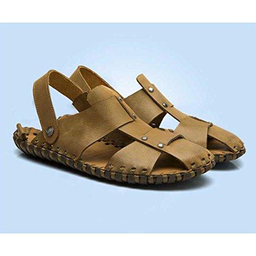 Sandali Sandali estive Cachi a Mano Scopo Doppio Pelle Scarpe in da Uomo Spiaggia da cuciti 0w0qrP86