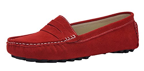 - V.J Women's Classic Handsewn Suede Leather Driving Moccasins Penny Loafers Casual Slip On Fashion Boat Shoes VJ6088AA-HO100 Red