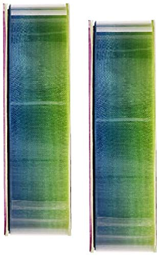 2 Sheer Blue Green Transparent Ombre Sheer Ribbon - 5/8