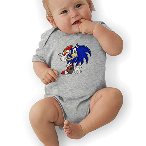 DingingGOOD Babys Sonic Hedgehog 3D Figure Fashion Comfortable Short Sleeve Jumpsuit Outfits 6M Gray ()