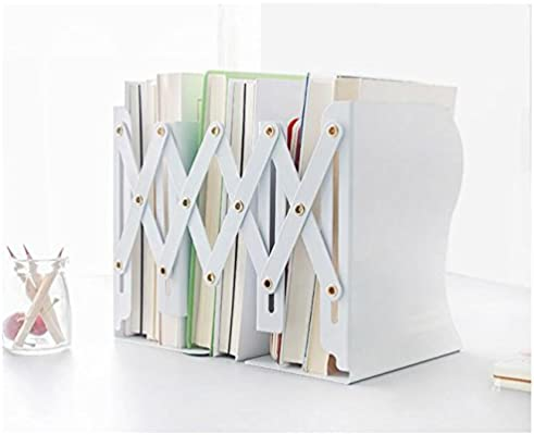 Simple Nature Japanese Style White Decorative Metal Bookends Adjustable Bookend
