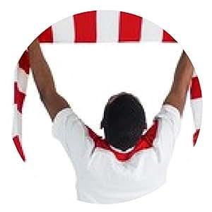 alfombrilla de ratón bufanda agitando Feliz aficionado al fútbol - ronda - 20cm