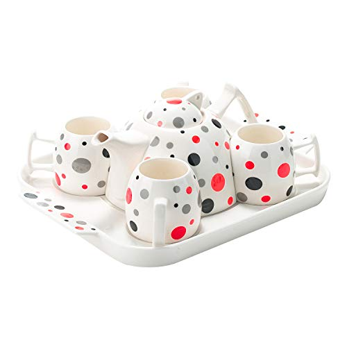 Porcelain Polka Dot Tea Cup Coffee Set & Ceramic Serving Tray (Poppy Red)