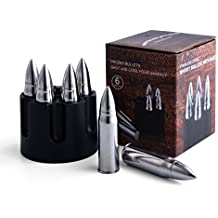 JILLMO Whiskey Bullet Stone with Base 304 Stainless Steel Reusable Chilling Ice Rocks/Set of 6/2.25'' Large Bullet-Shaped Chillers for Whiskey Lover