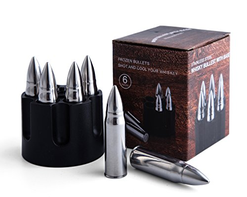 JILLMO Whiskey Bullet Stone with Base 304 Stainless Steel Reusable Chilling Ice Rocks/Set of 6/2.25'' Large Bullet-Shaped Chillers for Whiskey Lover by JILLMO