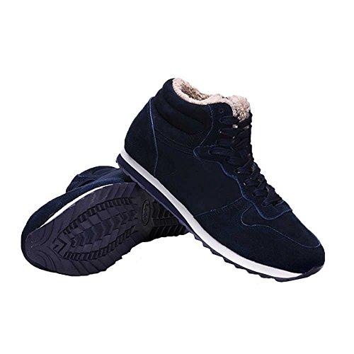 Coface Women Sneakers Snowboots Faux Fur Gevoerd Lace Up Antislip Winter Warm Outdoor Korte Enkellaarsjes Schoenen Blauw
