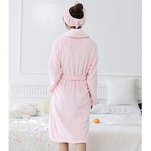 Pijamas Tamaño L Larga Con color Damas Túnicas Moda Franela Sexy De Yukata Manga Diadema Gjfeng Baño Bata Pink Blanco Simples Invierno Cálida Gruesa 71fxPR6qpw