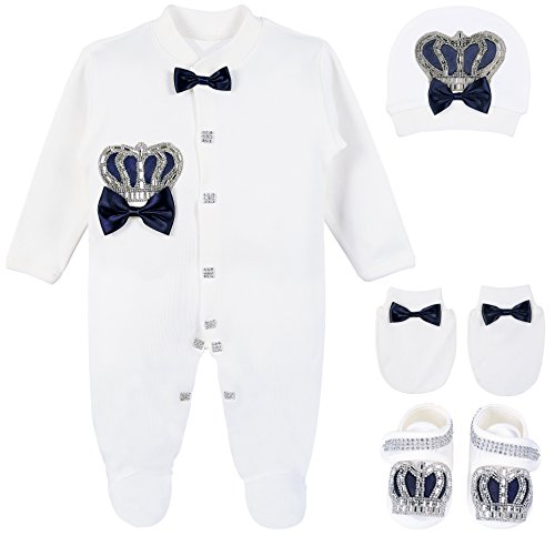 Lilax Baby Boy Jewels Crown Layette 4 Piece Gift Set 3-6 Months Dark Navy