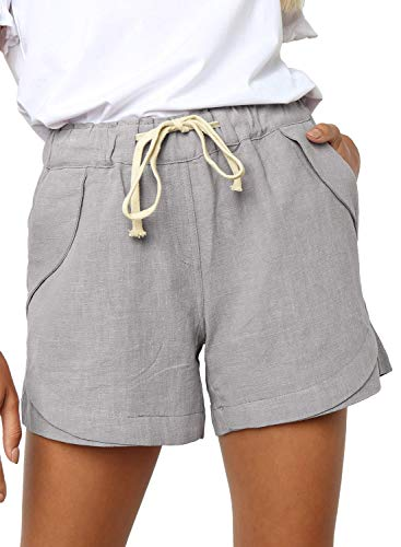 BLENCOT Women's Casual Drawstring Elastic Waist Solid Comfy Cotton Linen Beach Shorts with Pocket Gray S