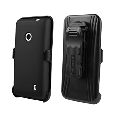 Beyond Cell Rubberized Phone Case Holster Combo with Screen Protector for T-Mobile Nokia Lumia 521 - Non-Retail Packaging - Black from Beyond Cell