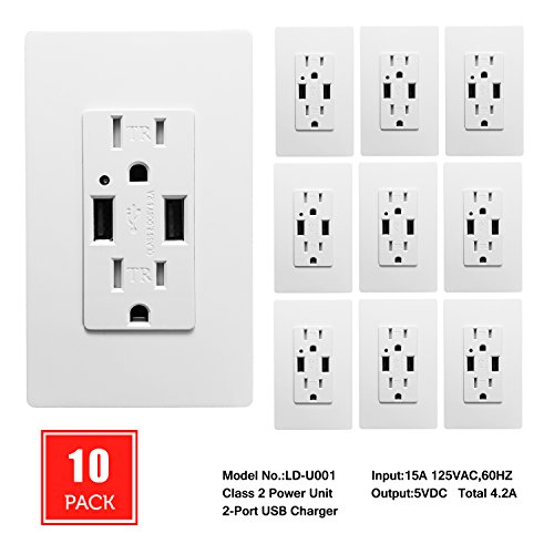 [10 Pack] SECKATECH 4.2A Smart High Speed Dual USB Charger Wall Outlet, 15A Tamper Resistant Outlet, Each Charging Receptacle with 20 Free Wall Plates-White (UL Listed) by SECKATECH
