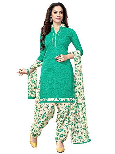 (KANCHNAR Women's Cotton Unstitched .Salwar Suit Material (487D2004A, Beige and Green, Free Size))