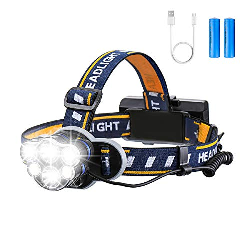Rechargeable Headlamp, OUTERDO 6 LED 8 Modes USB Rechargeable HeadLight with 2 Batteries, Waterproof LED Head Torch Rechargeable Headlamp Flashlight for Camping,Cellar,Outdoors