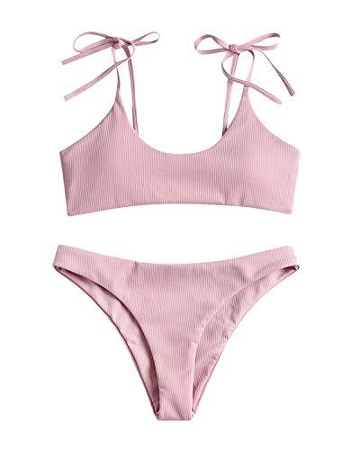 Sechico Women Tie Shoulder Ribbed Bikini Set Padded Strap Swimsuit Pink -