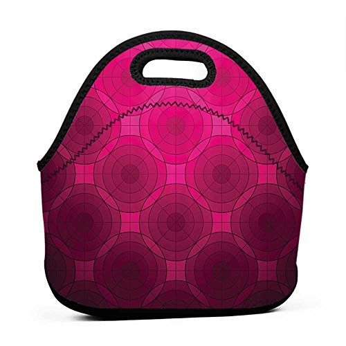 (Large Size Reusable Lunch Handbag Magenta Decor,Disc Shaped Fluid Dynamics Circular Spherical Forms Whirls Rings Print Image,Punch Pink,sling lunch bag for men)