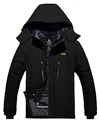 Wantdo Men's Mountain Jacket Waterproof Winter Ski Coat Windproof Outerwear