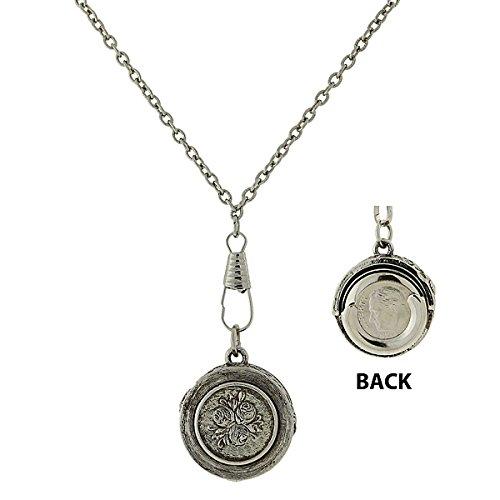 Silver-Tone Pendant Dime Holder Necklace 30 -