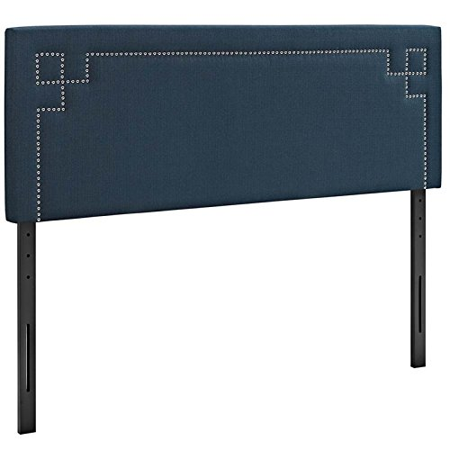 Modway Josie Linen Fabric Upholstered King Headboard in Azure with Nailhead Accents ()