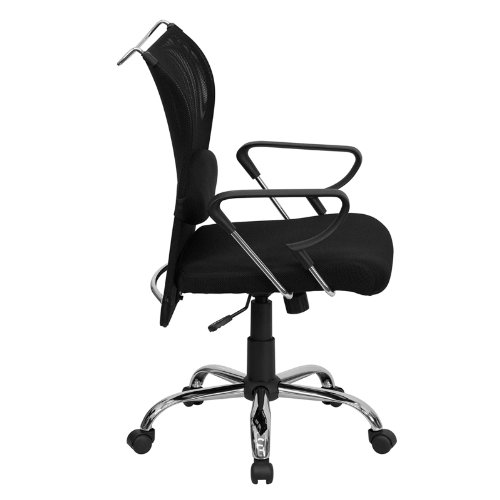 Flash Furniture Mid-Back Black Mesh Swivel Manager's Chair with Adjustable Lumbar Support and Arms