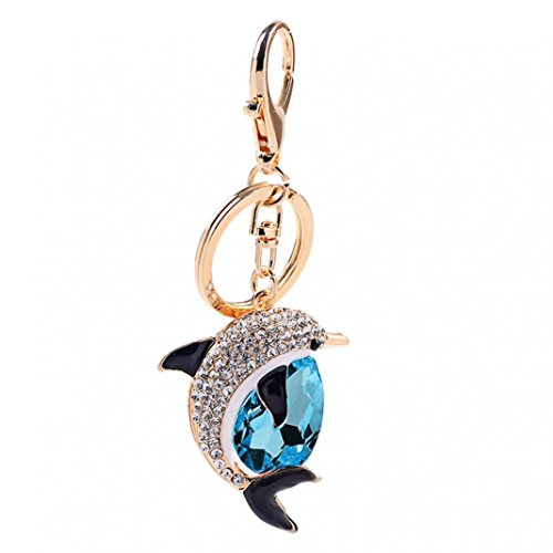 Blackzone Cute Dolphin Pendant Rhinestone Hanging Keychain Ring Bag Purse Wallet Decor (Blue) (Chain Dolphin)