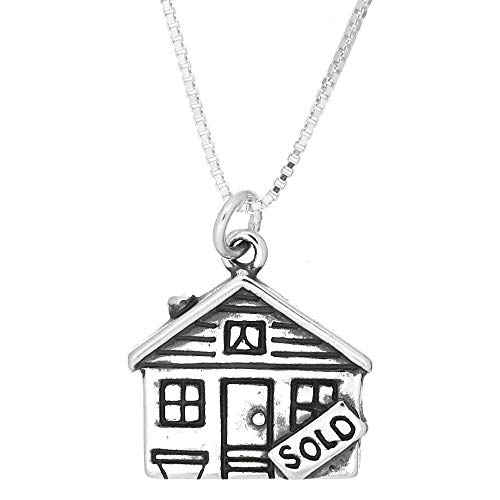 Sold House Charm - Charm - Sterling Silver - Jewelry - Pendant - Realtor House Sold with Necklace 16 INCH