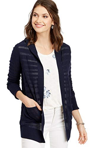 maurices Women's Shadow Stripe Open Hooded Cardigan Small Blue Jasmine
