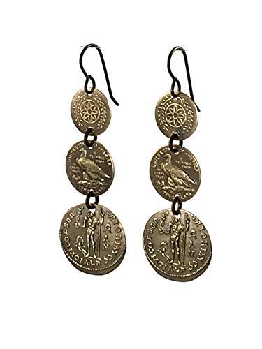 (Brass Coin Earrings Tiered Faux Coin Dangle Earrings )