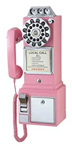 Crosley CR56-PI 1950's Payphone with Push Button Technology, Pink