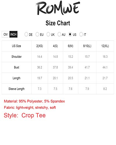 Romwe Women's Solid Crop T-Shirt Short Sleeve Tie Knot Front Loose Crop Blouse Top
