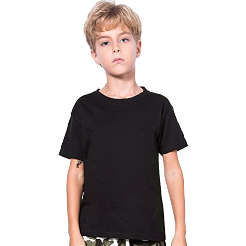Black Kids T-shirt - Black T Shirt,Boys Cotton Black Shirts Kids Tshirt T-Shirt Short Sleeve Clothes Children Solid Color Top Tee Crewneck Youth La T Shirts Clothing,6/7 Years Old