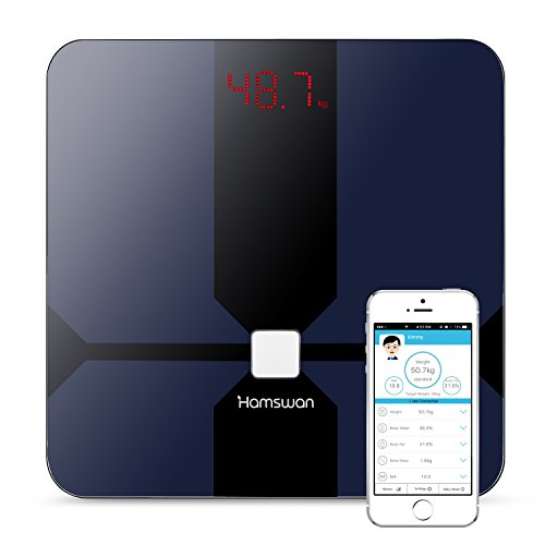 HAMSWAN CF376BLE Smart Scale Bluetooth Connected Body Fat Scale Accurate Measurements: Weight Body Fat Body Water Muscle Mass BMI BMR (KCAL) Bone Mass Visceral Fat (Black)