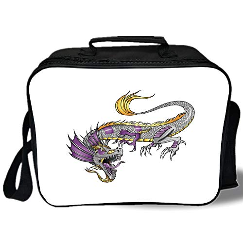 Insulated Lunch Bag,Japanese Dragon,Ethnic Far Eastern Beast Fiery Monster with Scales Fangs and Tail Decorative,Grey Violet Yellow,for Work/School/Picnic, Grey