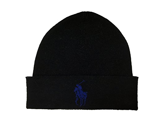 Ralph Lauren Mens Polo Big Pony Skull Cap/Beanie (Black) ()