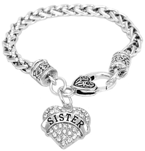 Graduation Gift Sister Bracelet Engraved Gift Jewelry Sister Crystal Adorned Heart Shaped Pendant Lobster Claw Bracelet Gift Sisters Birthday Colorless