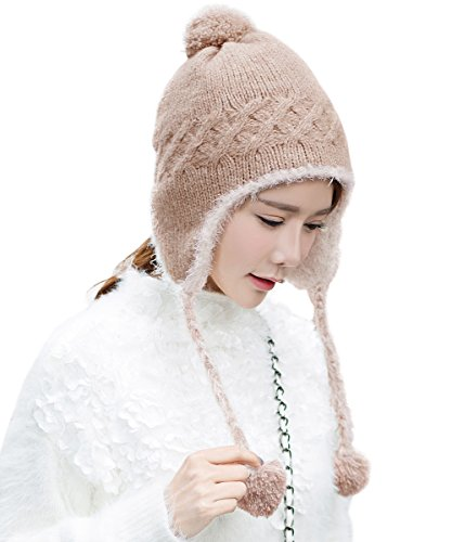 Womens Cable Knit Peruvian Wool Hats Pom Pom Beanie with Earflap Snow Cap Camel