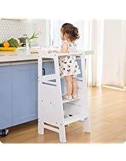 Height Adjustable Kitchen Helper Step Stool for Kids and Toddlers Children Standing Learning Tower for Kitchen Counter, Mothers' Helper (White)
