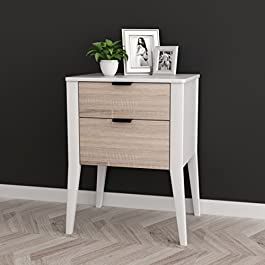 White / Sonoma Finish Oak Side End Table Nightstand with Two Storage Drawer 26″H