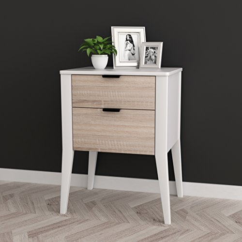 White / Sonoma Finish Oak Side End Table Nightstand with Two
