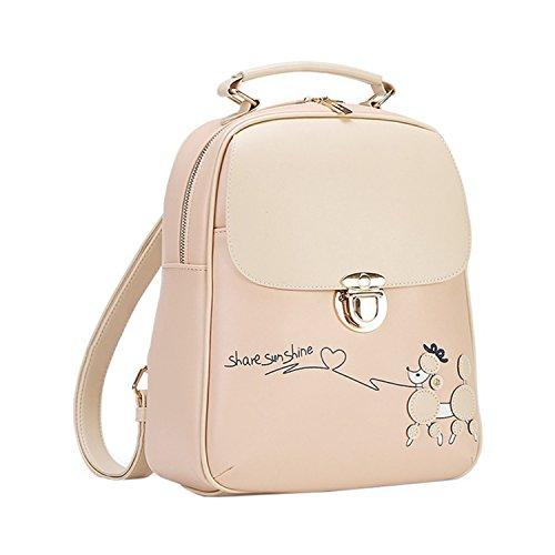 Vintage Fresh Students Backpack Female Korean Backpack School Bicycle Cute Pu Leather Backpack Girls Pink
