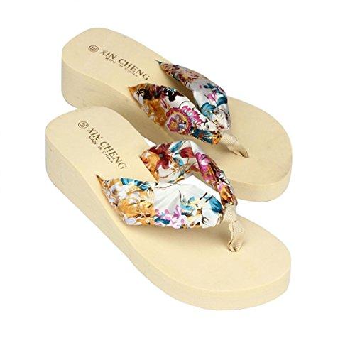 ZycShang Women Bohemia Floral Beach Sandals Wedge Platform Thongs Slippers Flip Flops Size 36-39 Beige