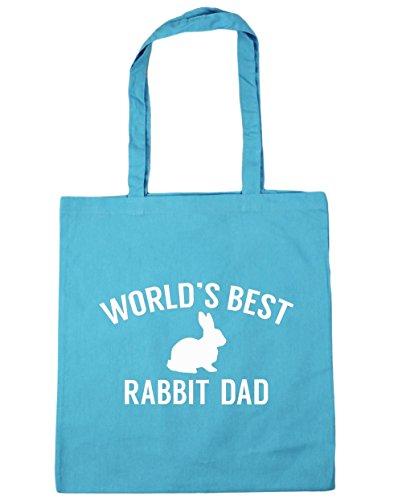 HippoWarehouse del mundo mejor papá de conejo bolsa de la compra bolsa de playa 42cm x38cm, 10litros azul (Surf Blue)