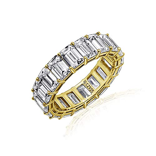 Diamonbliss Sterling or 14K Gold Clad Cubic Zicornia Emerald Cut Band Ring